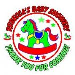 Personalised Red & Green Rocking Horse Baby Shower Party Stickers